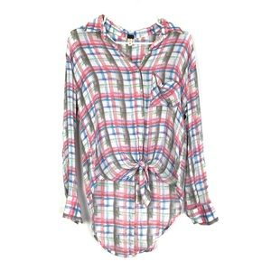 Free People Plaid Button Down Back & Front